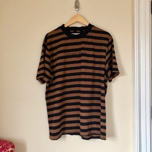 Guess Jeans Black Brown Striped Tee
